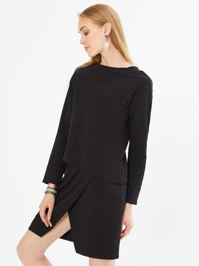 XINT - Xint Yuvarlak Yaka Arkası V Şerit Detaylı Asimetrik Kesim Elbise (1)