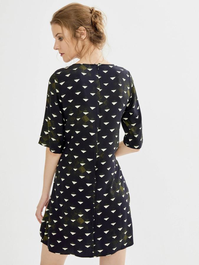 Xint Yuvarlak Yaka Belden Bağlama Formlu Elbise - Thumbnail