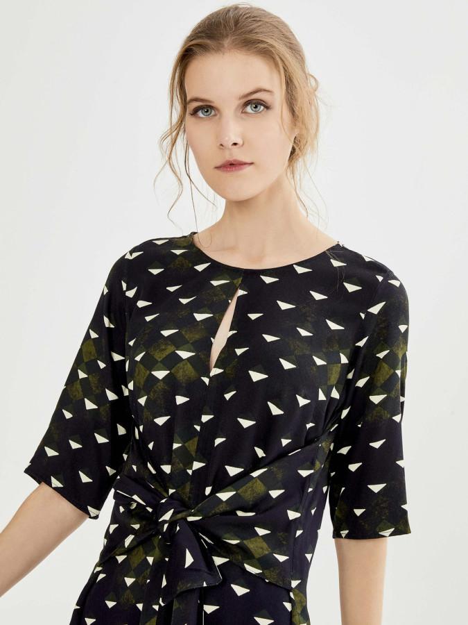 XINT - Xint Yuvarlak Yaka Belden Bağlama Formlu Elbise (1)