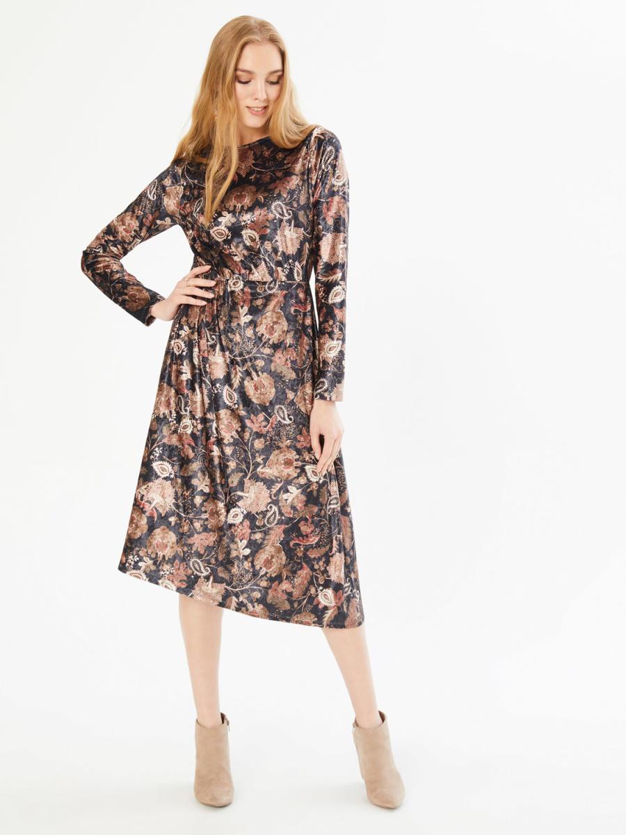 Xint Yuvarlak Yaka Belden Büzgülü Asimetrik Kesim Elbise