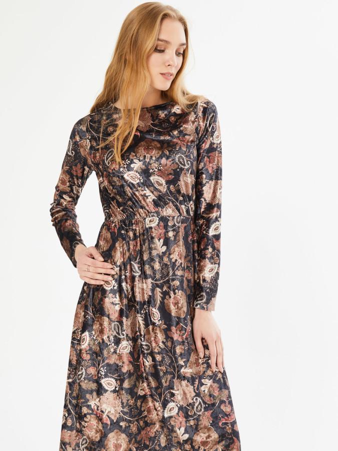 Xint Yuvarlak Yaka Belden Büzgülü Asimetrik Kesim Elbise - Thumbnail