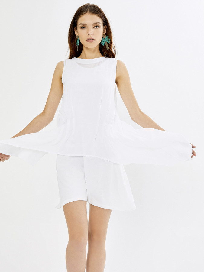 Xint Yuvarlak Yaka Çift Kat Asimetrik Kesim Elbise - Thumbnail