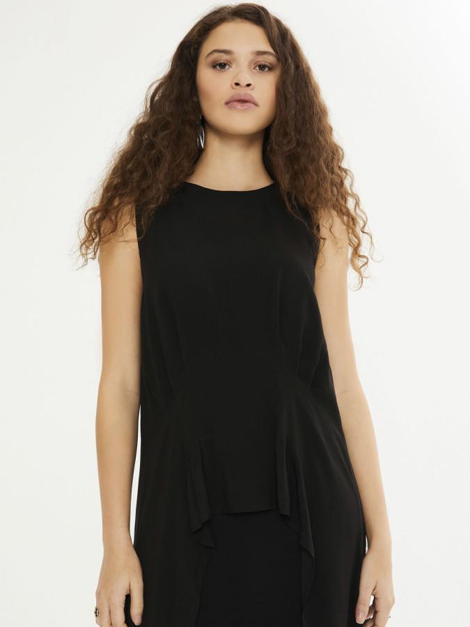 XINT - Xint Yuvarlak Yaka Çift Kat Asimetrik Kesim Elbise (1)