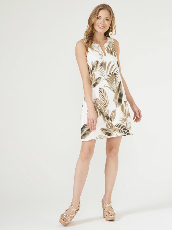 XINT - Xint Yuvarlak Yaka Desenli Elbise