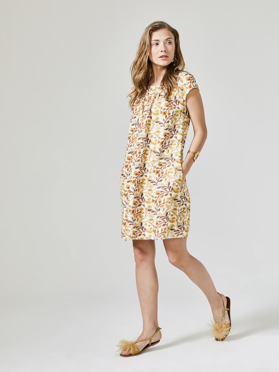 Xint Yuvarlak Yaka Desenli Elbise