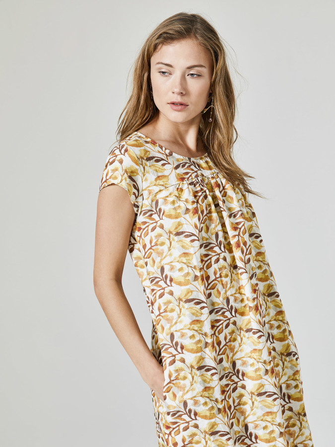 Xint Yuvarlak Yaka Desenli Elbise - Thumbnail