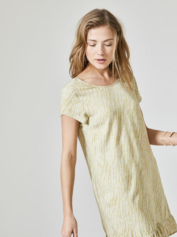 XINT - Xint Yuvarlak Yaka Eteği Volanlı Elbise (1)