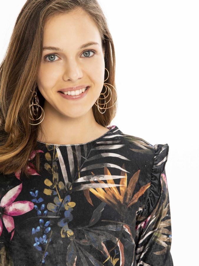 XINT - Xint Yuvarlak Yaka Fırfırlı Kol Elbise (1)