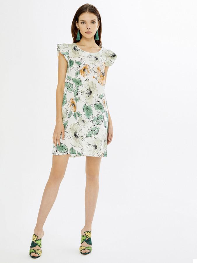XINT - Xint Yuvarlak Yaka Kolları Fırfırlı Desenli Elbise (1)