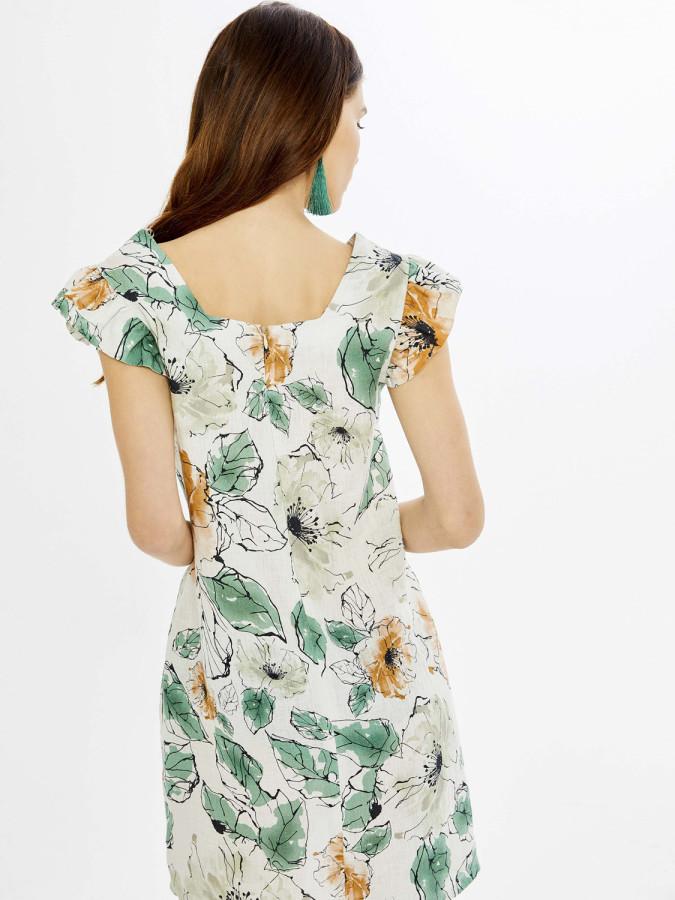 Xint Yuvarlak Yaka Kolları Fırfırlı Desenli Elbise - Thumbnail