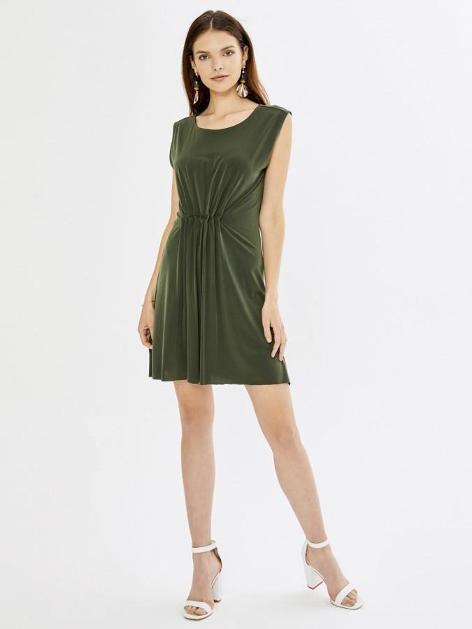 XINT - Xint Yuvarlak Yaka Kolsuz Viscon Mini Elbise (1)
