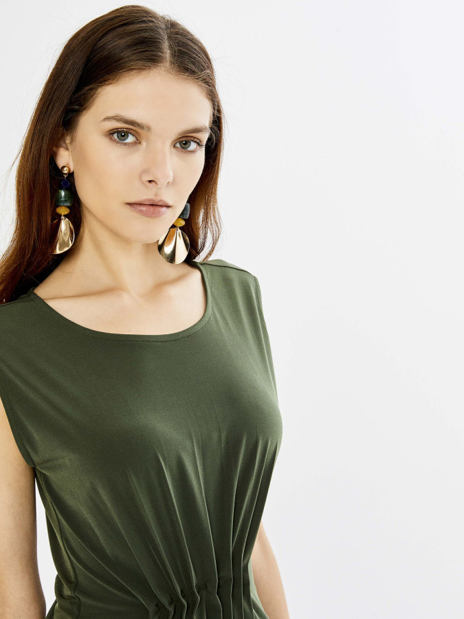 Xint Yuvarlak Yaka Kolsuz Viscon Mini Elbise - Thumbnail