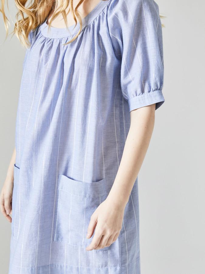 Xint Yuvarlak Yaka Rahat Kesim Elbise - Thumbnail