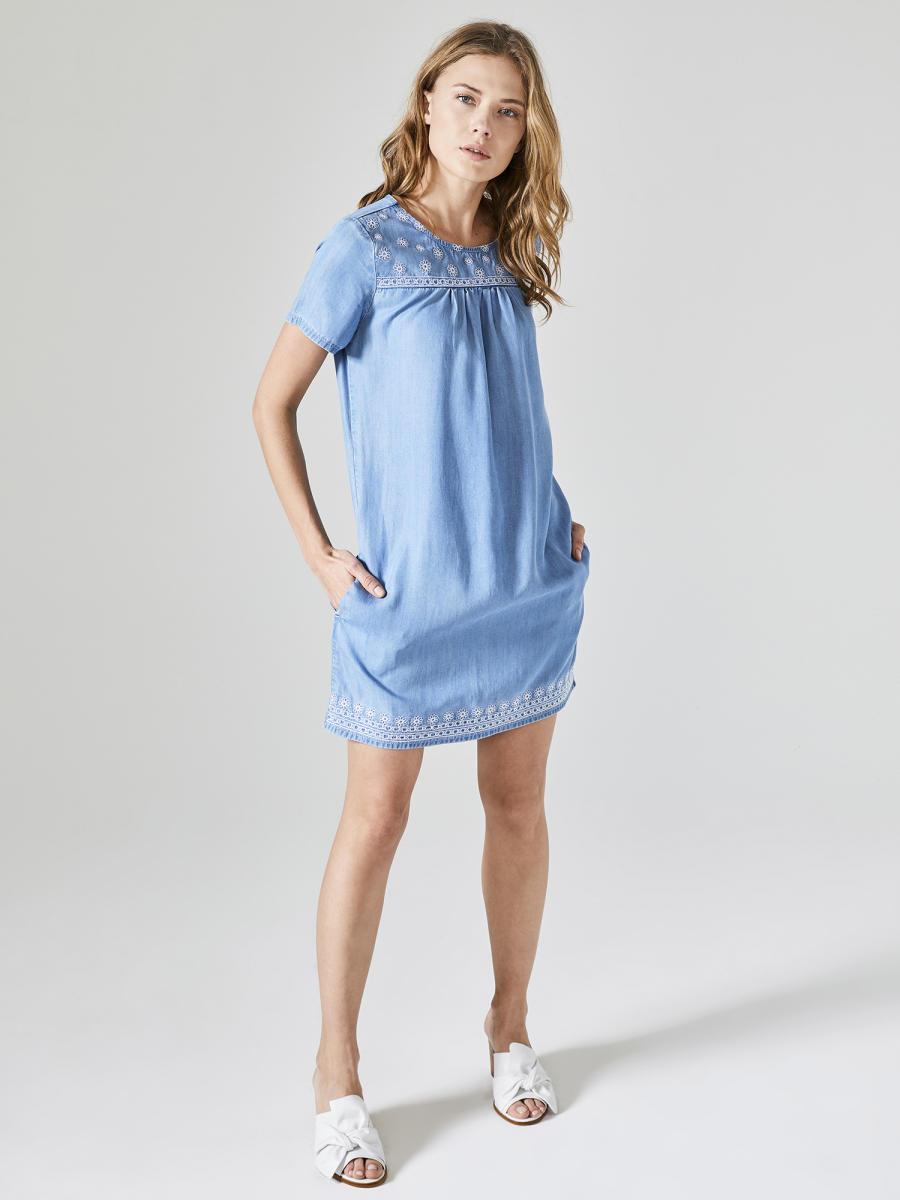 Xint Yuvarlak Yaka Önü Nakışlı Denim Elbise