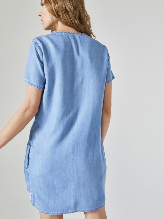 Xint Yuvarlak Yaka Önü Nakışlı Denim Elbise - Thumbnail
