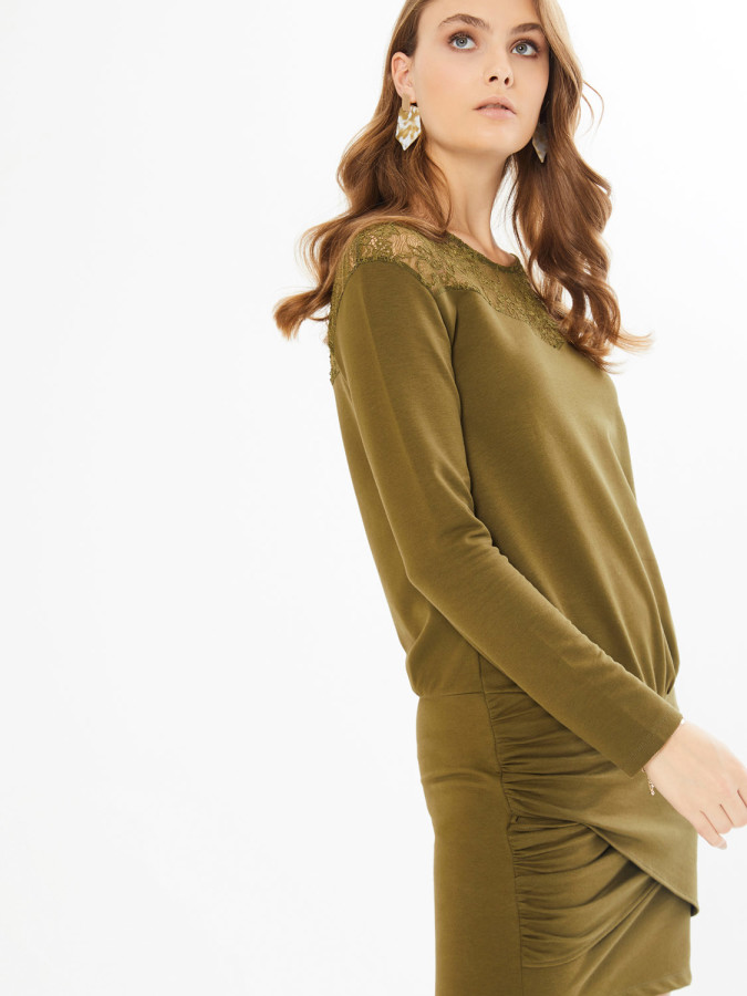 XINT - Xint Yuvarlak Yaka Robası Dantelli Büzgülü Elbise (1)