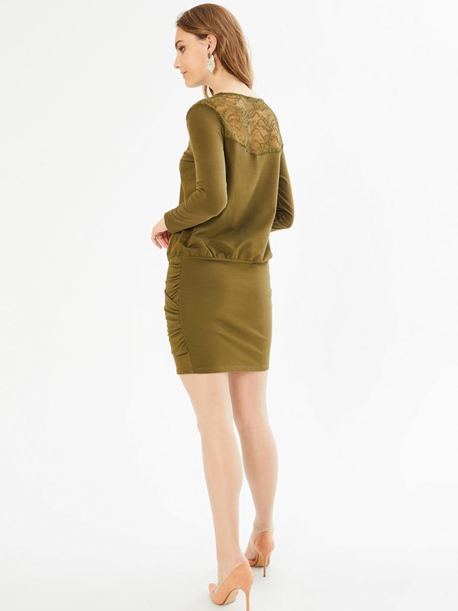 Xint Yuvarlak Yaka Robası Dantelli Büzgülü Elbise
