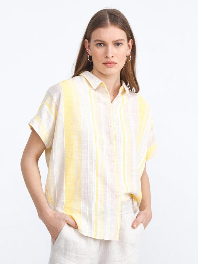 Pamuklu Çizgili Rahat Kesim Gömlek