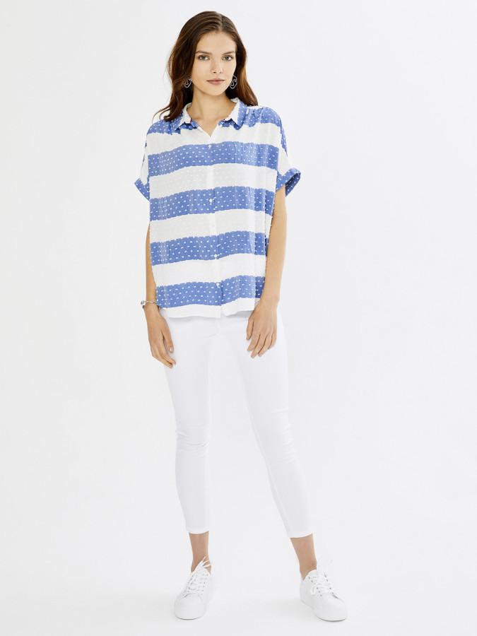 XINT - Xint Düşük Omuzlu Çizgili Gömlek (1)
