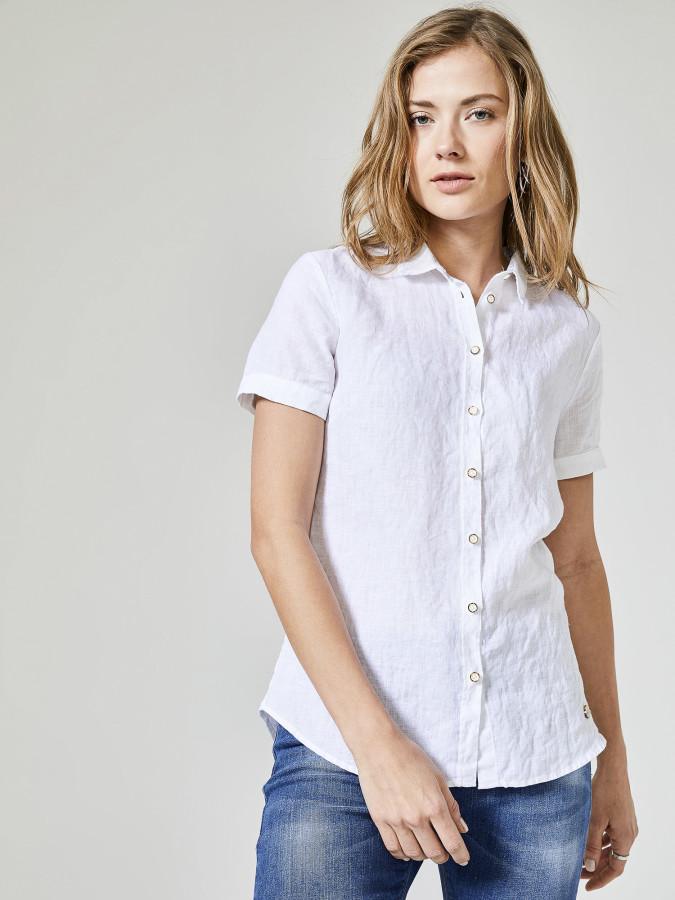 XINT - Xint Kısa Kollu %100 Keten Gömlek