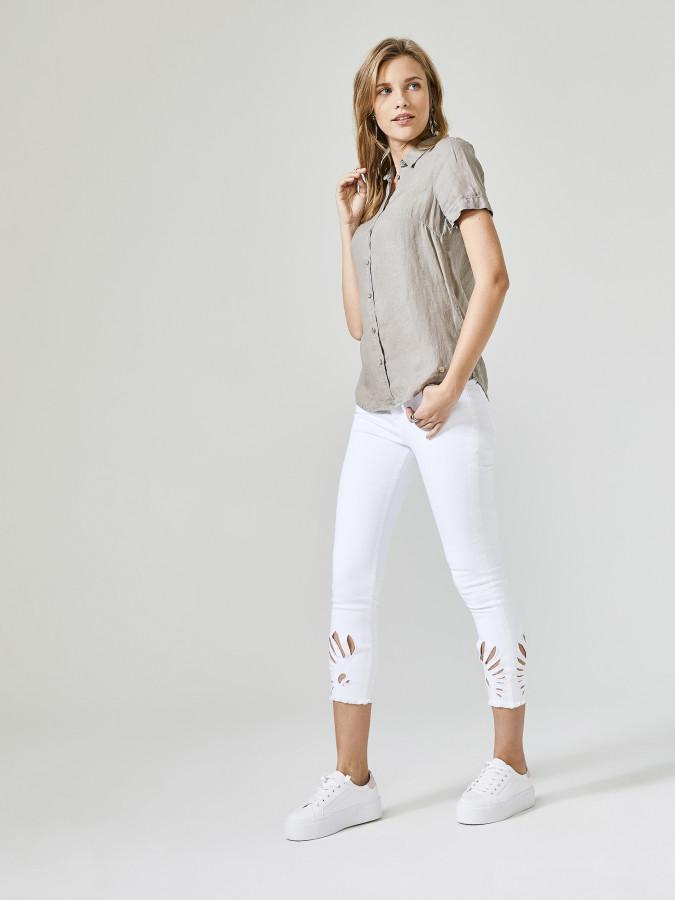 XINT - Xint Kısa Kollu %100 Keten Gömlek (1)
