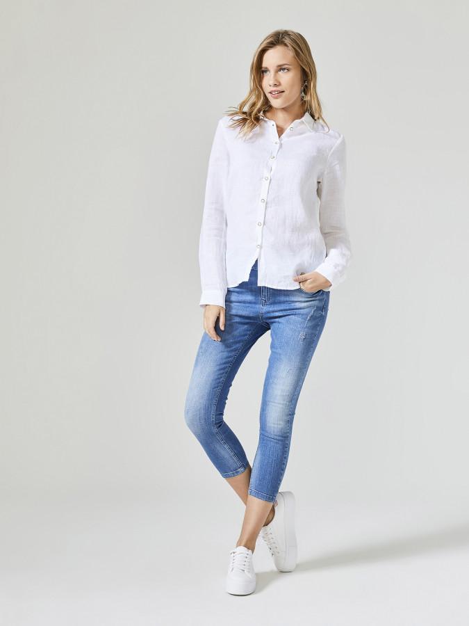 XINT - Xint Küçük Yakalı %100 Keten Gömlek (1)