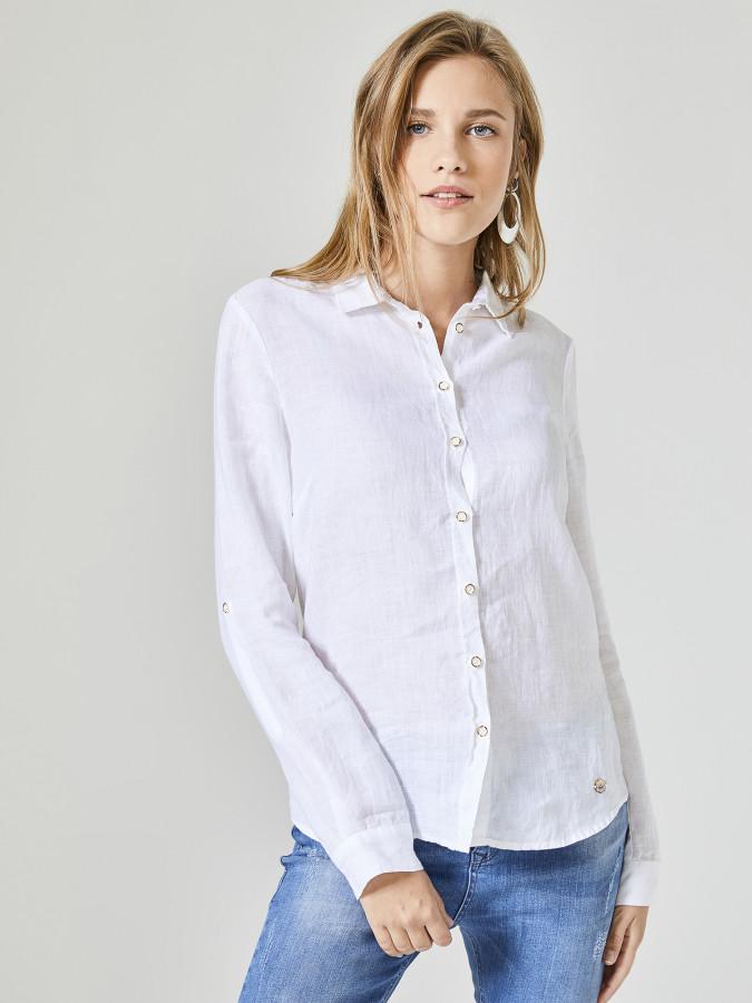 Xint Küçük Yakalı %100 Keten Gömlek - Thumbnail
