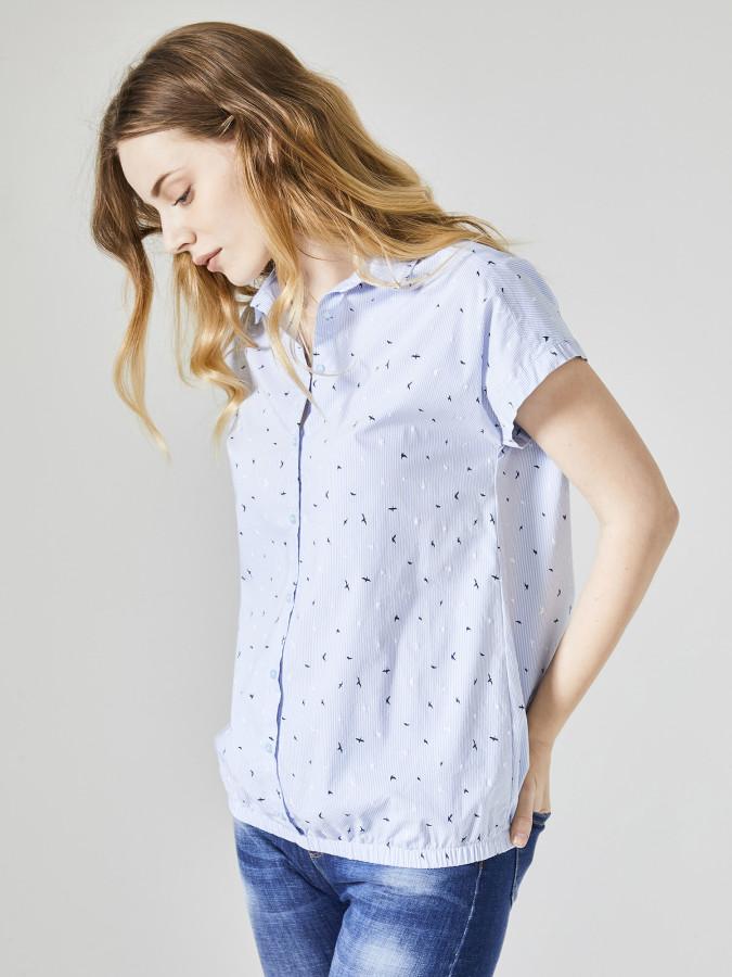 XINT - Xint Küçük Yakalı Desenli Kısa Kol Gömlek