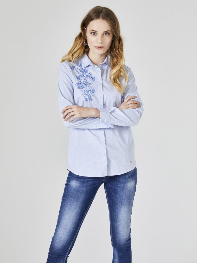 XINT - Xint Küçük Yakalı Nakışlı Gömlek