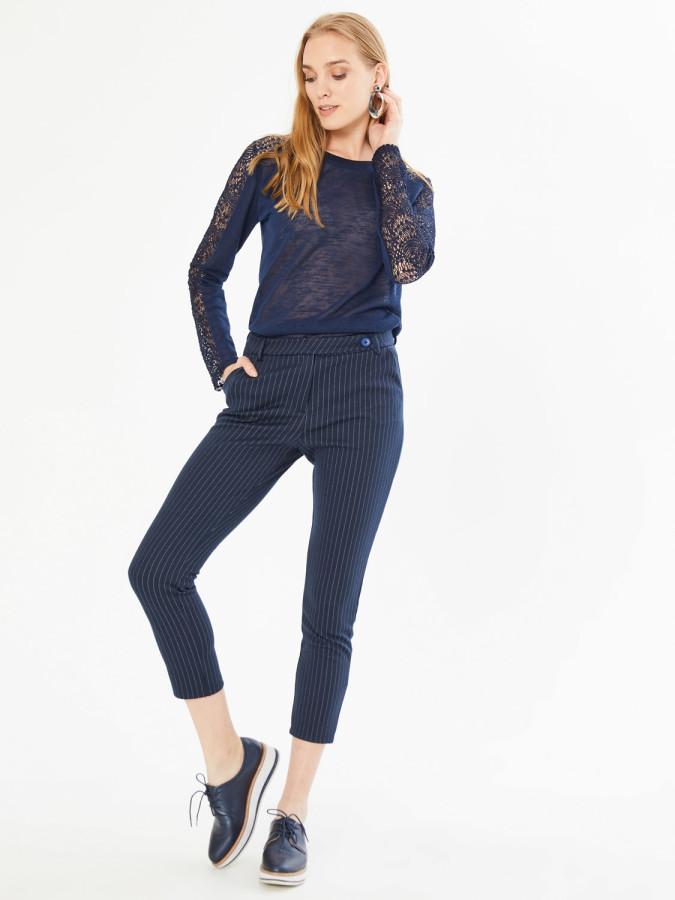XINT - Xint Normal Bel Kendinden Çizgili Pantolon (1)
