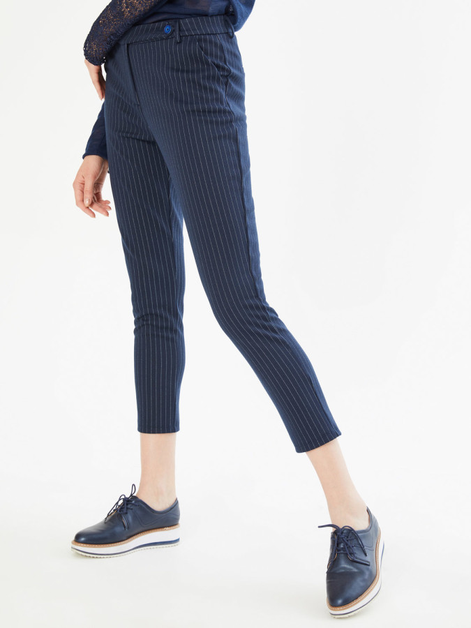 Xint Normal Bel Kendinden Çizgili Pantolon - Thumbnail
