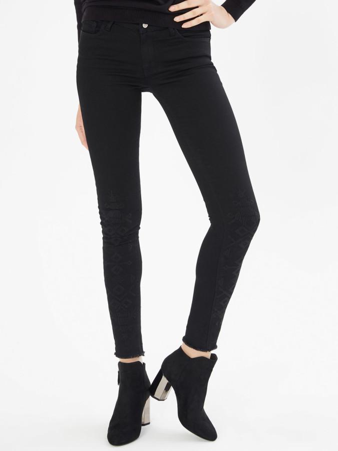 XINT - Xint Önü Nakışlı Skinny Kalıp Denim Pantolon (1)