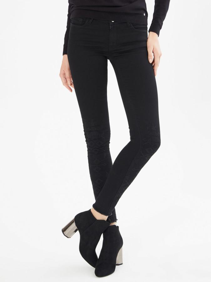Xint Önü Nakışlı Skinny Kalıp Denim Pantolon - Thumbnail