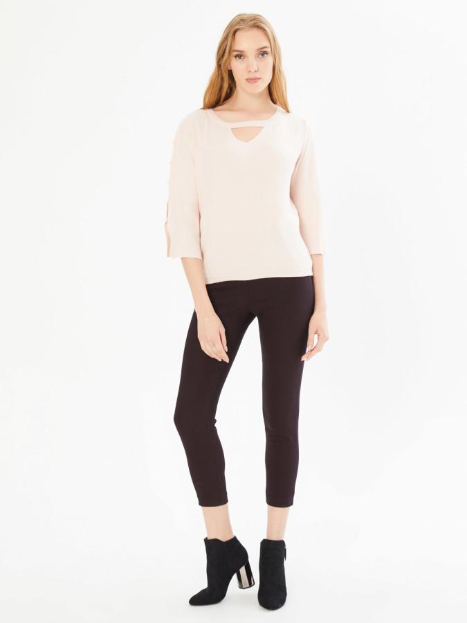XINT - Xint Normal Bel Yandan Fermuarlı Skinny Kalıp Pantolon