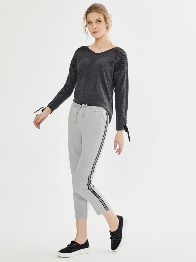 XINT - Xint Normal Bel Yandan Şeritli Pantolon