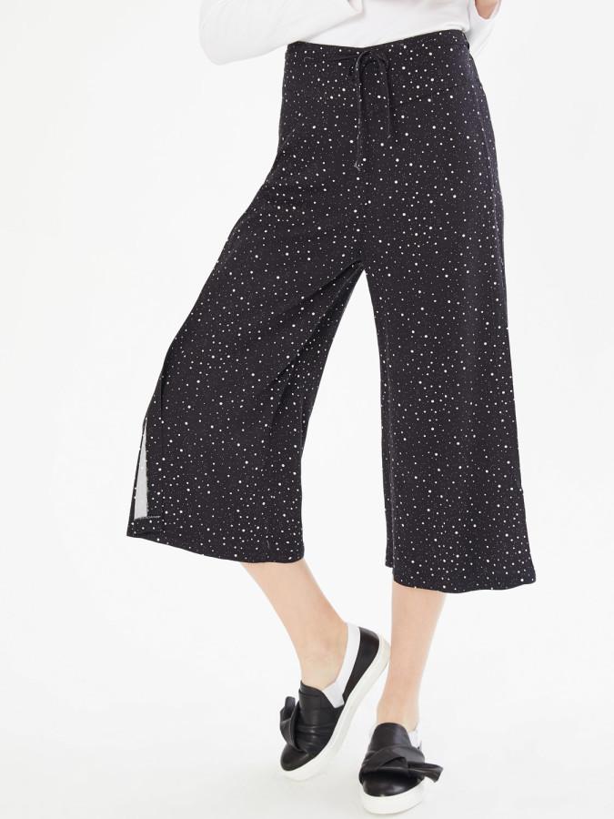 XINT - Xint Normal Bel Yandan Yırtmaçlı Culotte Pantolon (1)