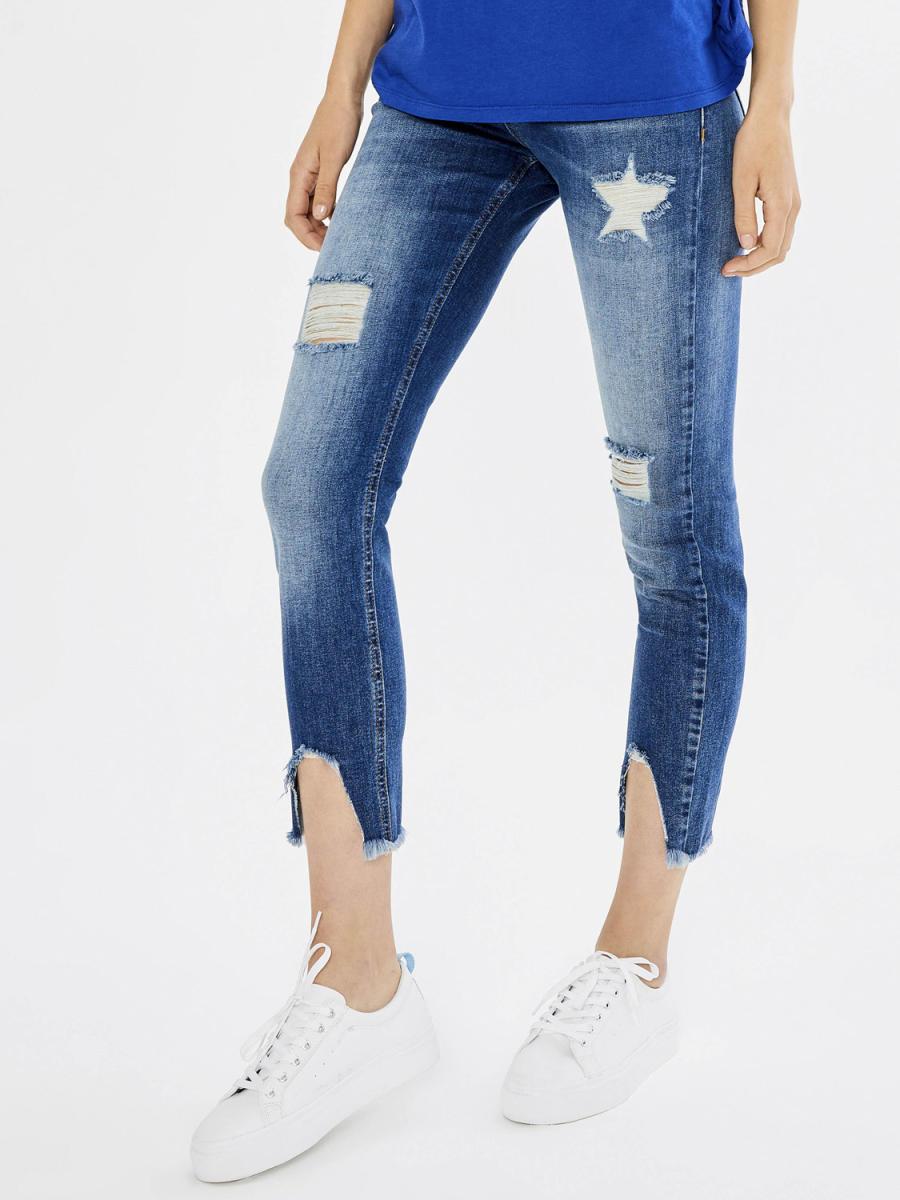 Xint Normal Bel İnci İşlemeli Yırtık Detaylı Pantolon