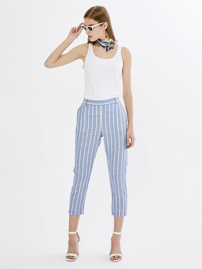 XINT - Xint Yüksek Bel Boyuna Çizgili Rahat Kesim Pantolon (1)