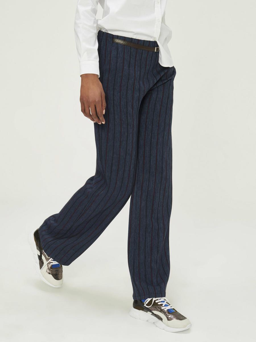 Yüksek Bel Geniş Paça Çizgili Pantolon