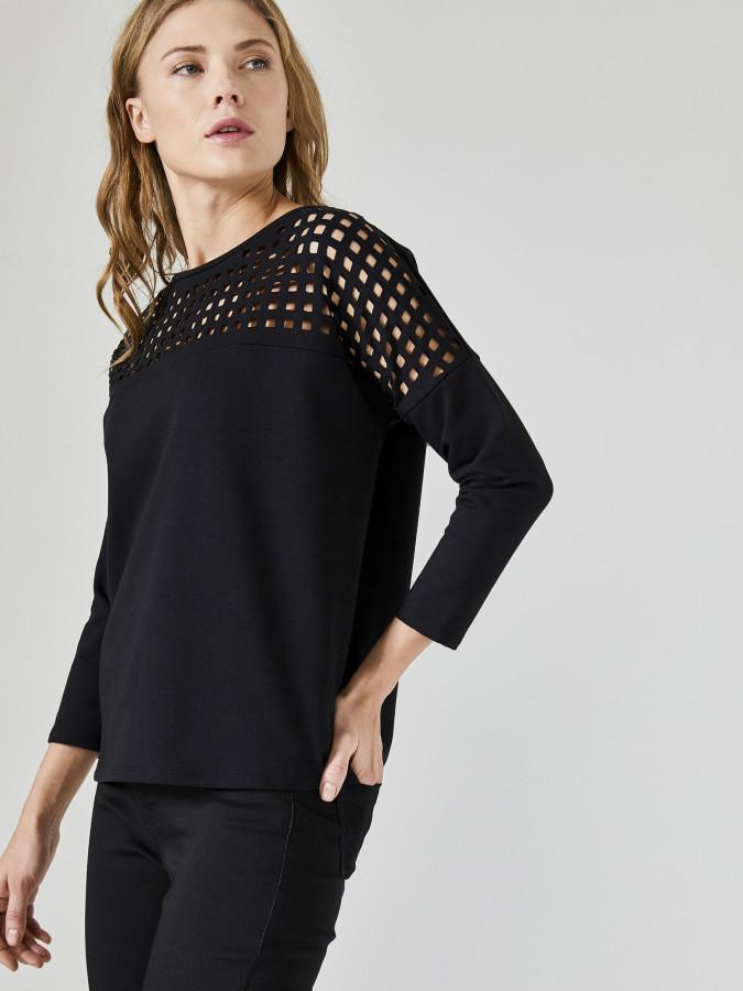 XINT - Xint Açık Yaka Lazer Kesimli Sweatshirt