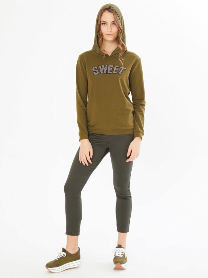 XINT - Xint Kapüşonlu Önü Baskılı Sweatshirt