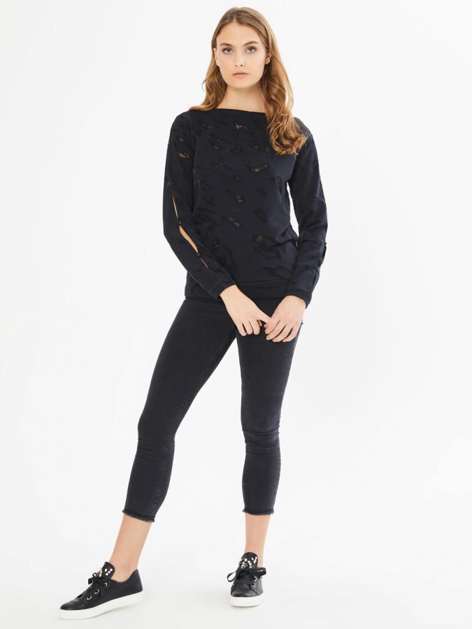 XINT - Xint Kayık Yaka İnci Detaylı Sweatshirt