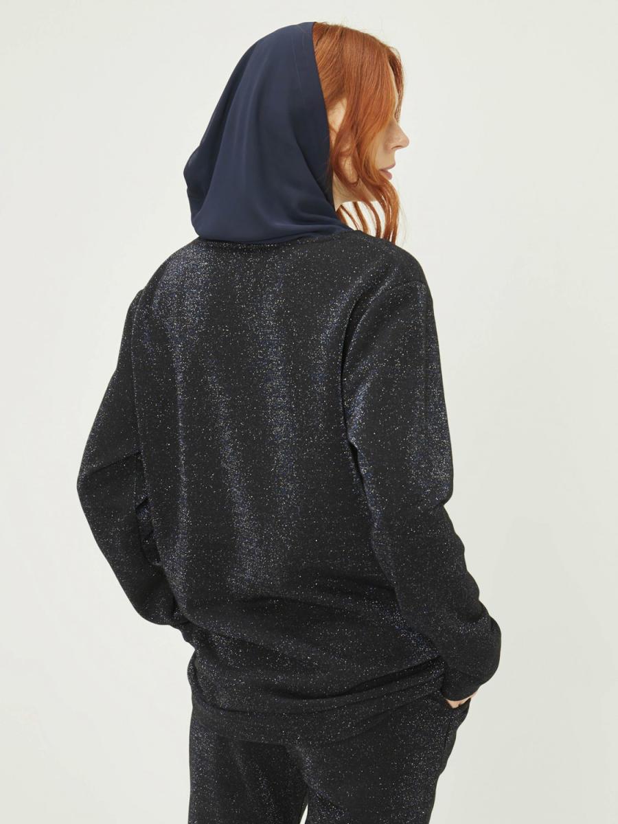 Kapüşonlu Taş Baskılı Pamuklu Sweatshirt