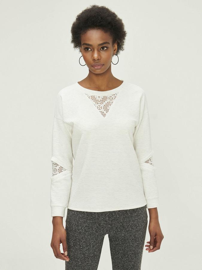 XINT - Xint Yuvarlak Yaka Dantel Detaylı Sweatshirt (1)
