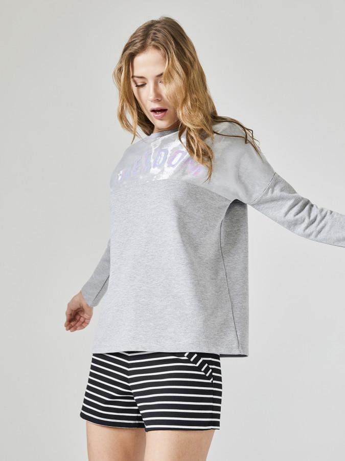 XINT - Xint Yuvarlak Yaka Baskılı Sweatshirt