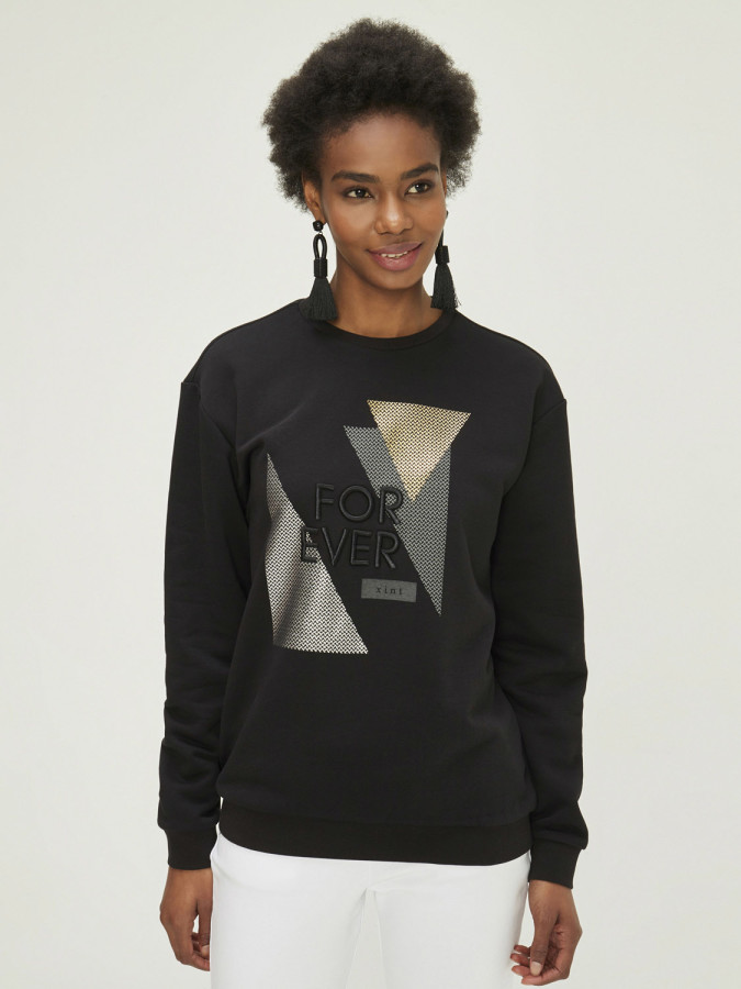 XINT - Xint Yuvarlak Yaka Rahat Kalıp Ribanalı Sweatshirt (1)