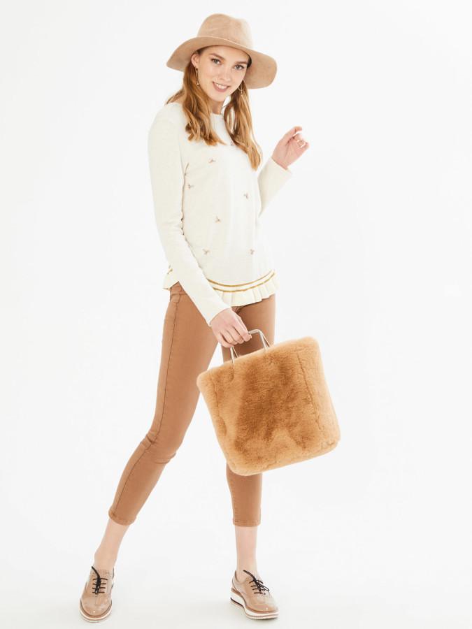 XINT - Xint Yuvarlak Yaka Taş İşlemeli Sweatshirt
