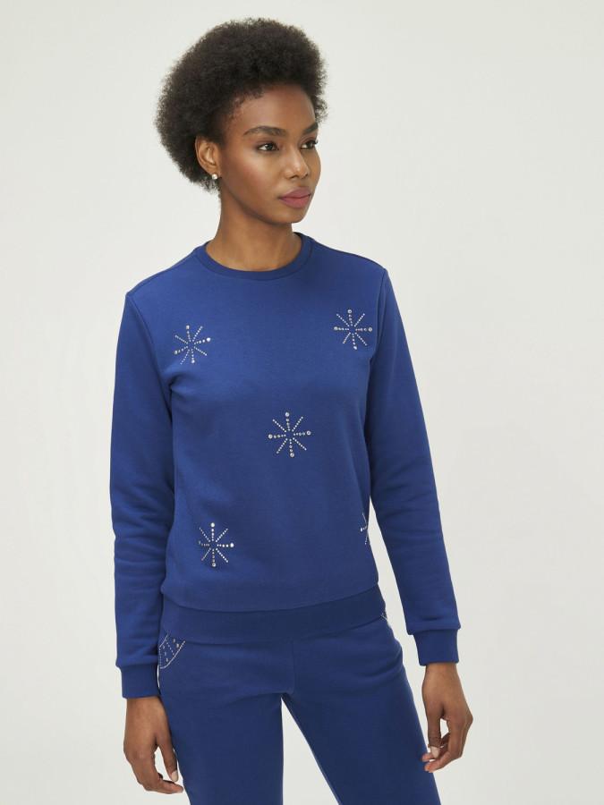 XINT - Xint Yuvarlak Yaka Taş Yapıştırmalı Sweatshirt (1)