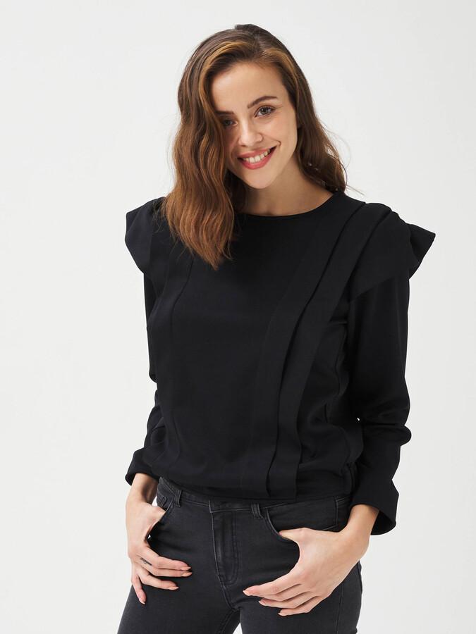 Yuvarlak Yaka Rahat Kesim Vatkalı Sweatshirt