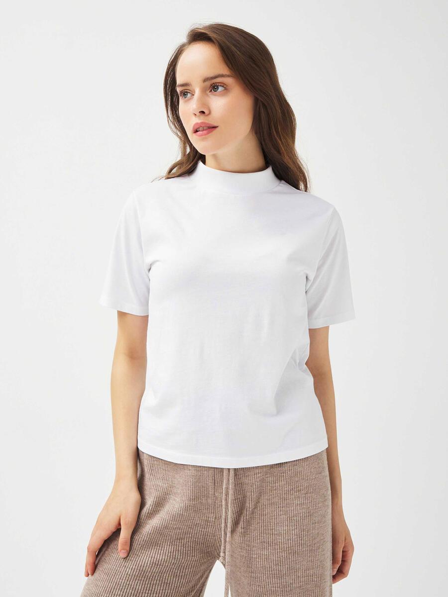 Dik Yaka %100 Pamuk Rahat Kesim Basic Tişört